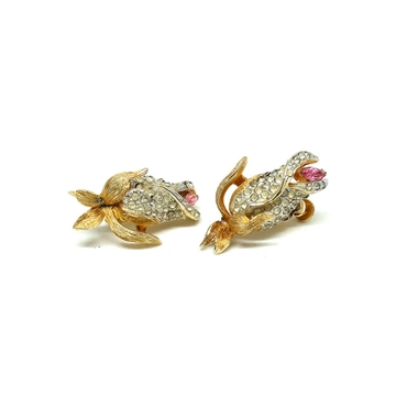 Francos 1950s Flower white & pink vintage Earrings