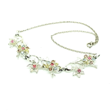 Coro 1950's Diamante Flower pink vintage Choker Necklace