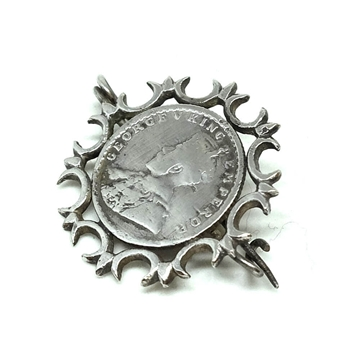 Antique George V King Emperor 1/4 Indian Rupee 1913 brooch