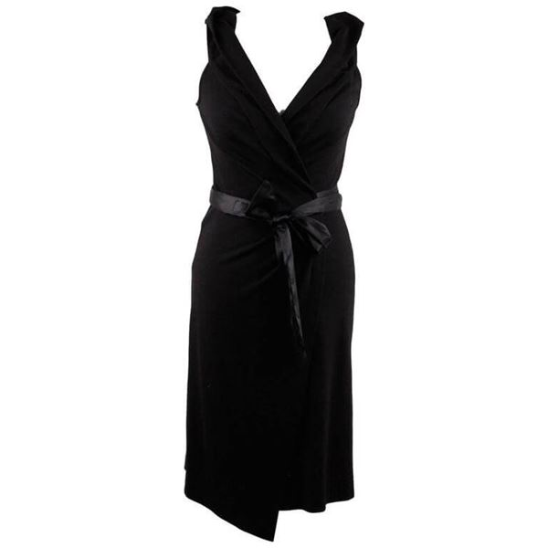 Diane Von Furstenberg Sleeveless Black Vintage Wool Wrap Dress