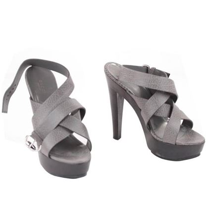 Gucci Gray Leather Ankle Wrap Strap Platforms Shoes Sandals Sz 39