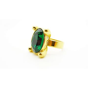 Yves Saint Laurent 1980s Emerald Green & Gold Crystal Vintage Statement Ring