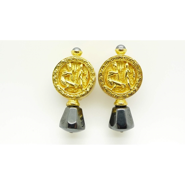 Prevost Gold Medallion and Gunmetal Drop Vintage Earrings