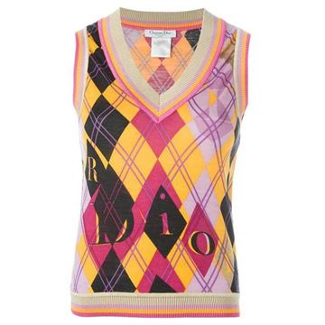 Christian Dior Argyle and DIOR Print Multicolour Vintage Sleeveless Sweater