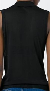 Christian Dior Sequin Embellished Sleeveless Knitted Pussy Bow Black Vintage Top