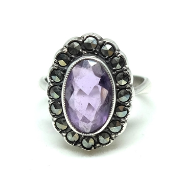 vintage-1940s-marcasite-silver-amethyst-ring
