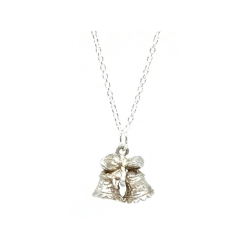 Vintage 1960s Bow and Bell Charm Sterling Silver Necklace