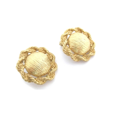Monet 1970s Disc and Rope Gold Plated Vintage Clip Earrings