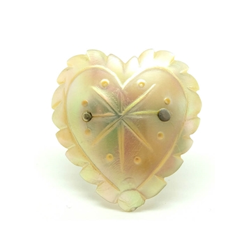 Antique Victorian (1837-1901) Mother of Pearl Heart Shape Gold Tone Brooch