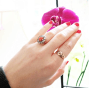 Antique Victorian 9ct Rose Gold Paste Glass Stone Ring