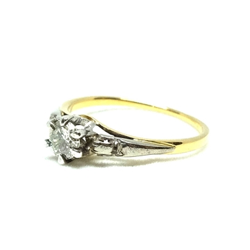 Vintage 1920s White & Yellow Gold Diamond Ring