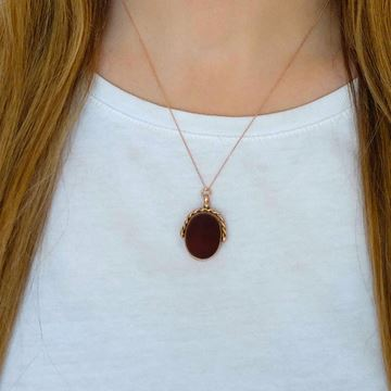 Antique Victorian 9ct Rose Gold Red Carnelian Fob Pendant Necklace