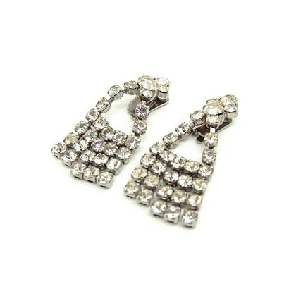 Vintage 1950s Diamante Rhinestone Chandelier Clip on Earrings