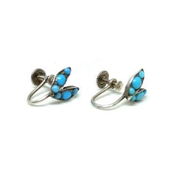 Antique Victorian Turquoise Sterling Silver Screw Leaf vintage Earrings