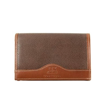 Courreges 1990s Caviar Skin Brown Vintage Wallet
