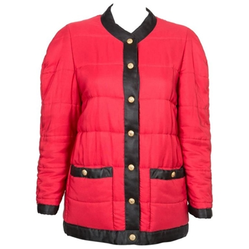 Chanel Silk Puffer Red Vintage Coat