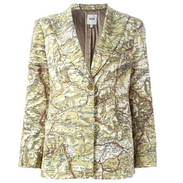 Moschino Cotton Map Beige Vintage Blazer