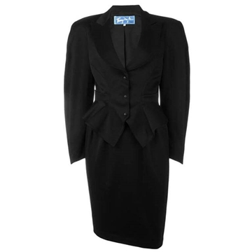 Thierry Mugler 1980s Wool Black Vintage Skirt Suit