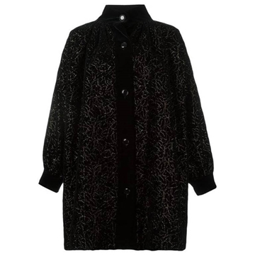 Yves Saint Laurent Embroidered  Velvet Cocoon Black Vintage Coat