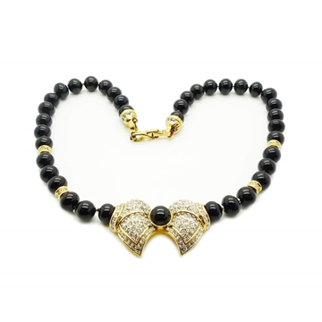 D'Orlan Black Bead Crystal Vintage Pendant Necklace