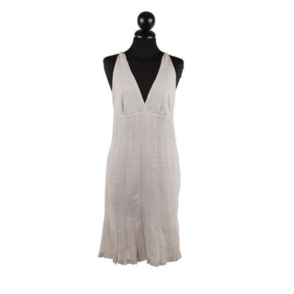 Chanel Sleeveless V Neck Grey Vintage Silk Dress