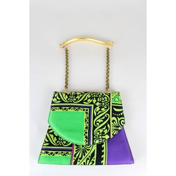 Picture of GIANNI VERSACE 1990s Istante bright patterned green vintage Bag