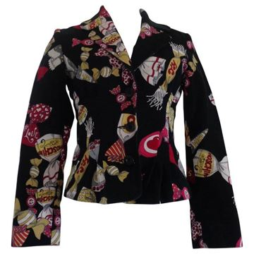 Moschino Jeans Candy Print Black Vintage Blazer Jacket