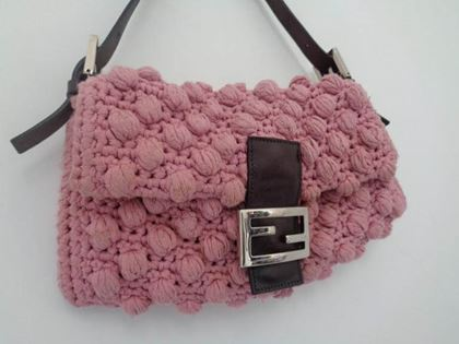 Fendi Pink Wool Brown Leather Baguette Bag