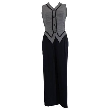 1970s Vintage Black and Grey Gilet Pants Jumpsuit