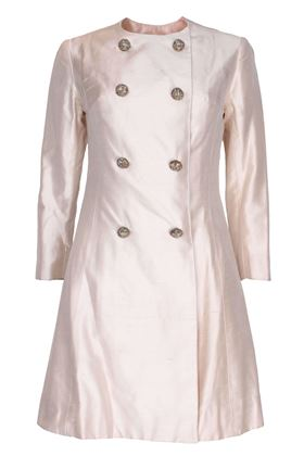 Picture of Vintage 1960s silk ivory white buttoned Dress coat