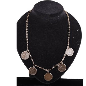 Picture of Vintage Italian Gold Plated Sterling Silver Ancient Lira Coin Charm Necklace