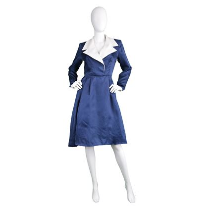 Givenchy Couture 1980s Silk Organza Blue Vintage Dress
