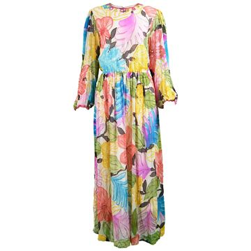 Swee Lo 1970s Pure Silk Floral Print Multi Coloured Vintage Dress