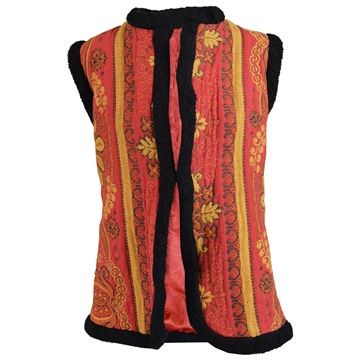Manon Maid 1960s Floral Tapestry Red Vintage Waistcoat