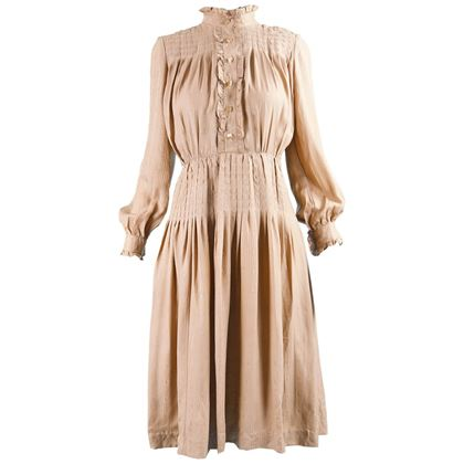 Louis Feraud 1970s High Neck Boho Beige Vintage Dress