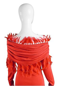 Gianni Versace 1980s Feather Trim Red Vintage Dress