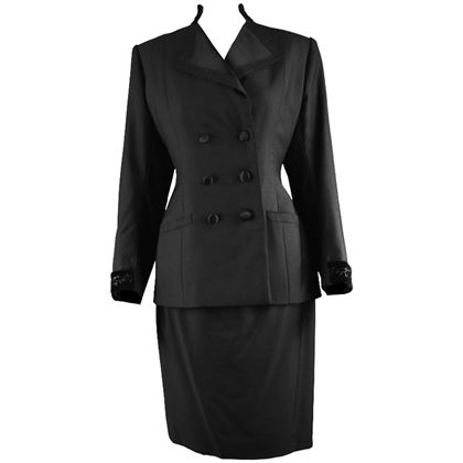 Hardy Amies 1960s Black Vintage Skirt Suit