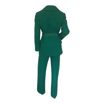 Harella 1960s wool emeral green vintage trouser suit