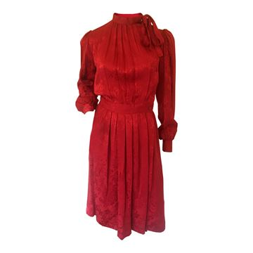 Yves Saint Laurent Rive Gauche 1980s silk jacquard red vintage dress
