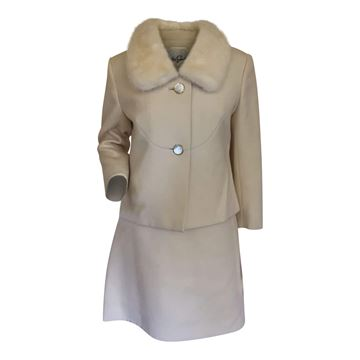 Couture 1960s wool & mink trim cream vintage dress suit