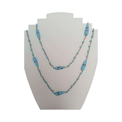 Vintage Art Deco 1920s Venetian Flapper style blue Necklace