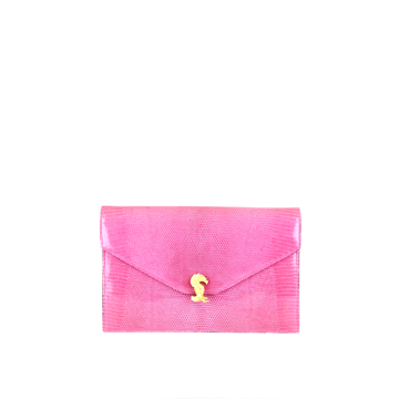 Picture of Asprey of London 1990s lizard skin pink vintage clutch shoulder bag