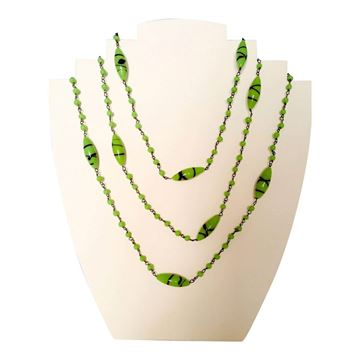 Picture of Vintage Art Deco 1920s Venetian spatter Glass green Necklace