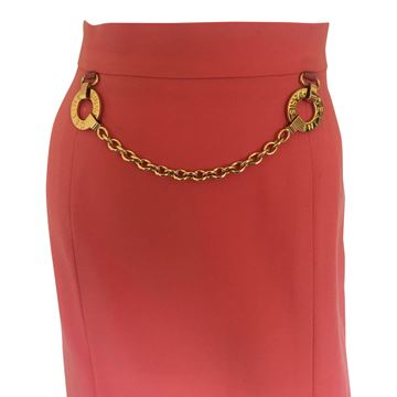 Celine 1980s vintage wool & chain detail coral orange vintage skirt