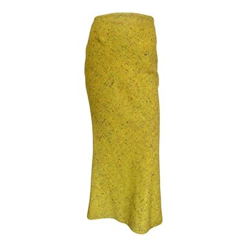 Christian Dior 1990s wool fleck yellow vintage skirt