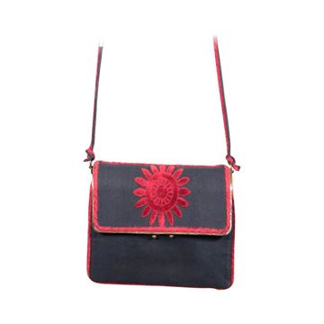 Roberta Di Camerino velvet Blue Fabric & Red vintage Shoulder Bag
