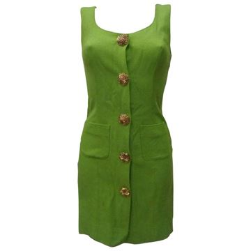 Moschino 1980s Cheap & Chic Sleeveless Buttoned Green Vintage Mini Dress