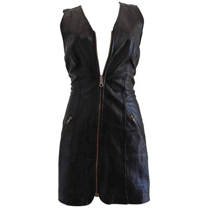 Moschino Cheap & Chic 1980s Leather Zip Front Black Vintage Mini Dress