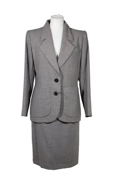 Yves Saint Laurent Houndstooth Monochrome Vintage Skirt Suit