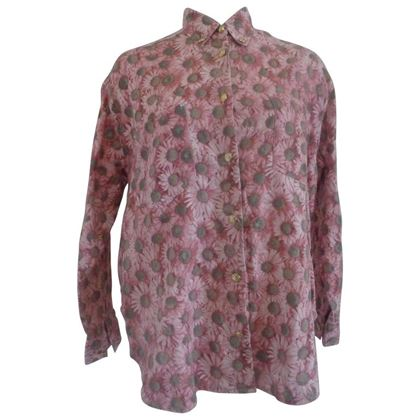 Moschino 1980s Flower Print Cotton Pink Vintage Shirt